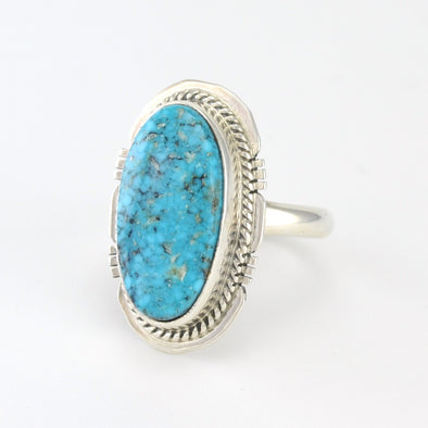 Sterling Silver Kingman Turquoise Ring Size 8
