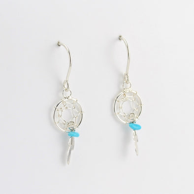 Silver Turquoise Dreamcatcher Earrings
