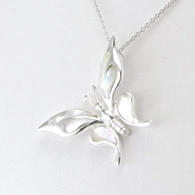 Silver Mother of Pearl Butterfly Necklace
