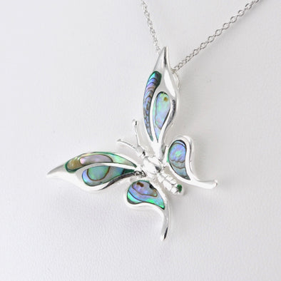 Silver Abalone Butterfly Necklace