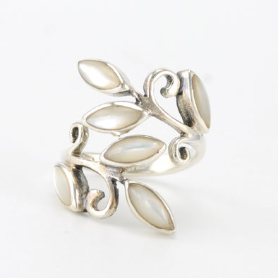 Silver Mother of Pearl Leaf Wrap Ring