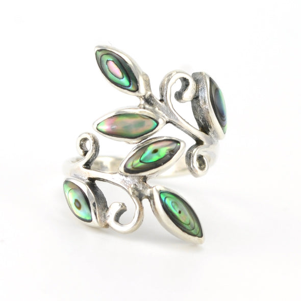 Silver Abalone Leaf Wrap Ring