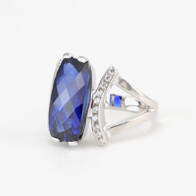 Silver Created Sapphire 7ct CZ Ring Size 7