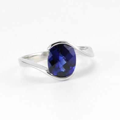 Silver Created Blue Sapphire 2.3ct Oval Ring