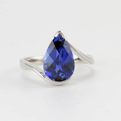 Silver Created Blue Sapphire 3.9ct Tear Ring
