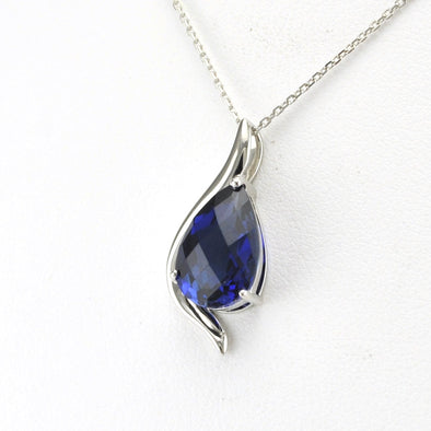 Silver Created Sapphire 3.5ct Tear Necklace