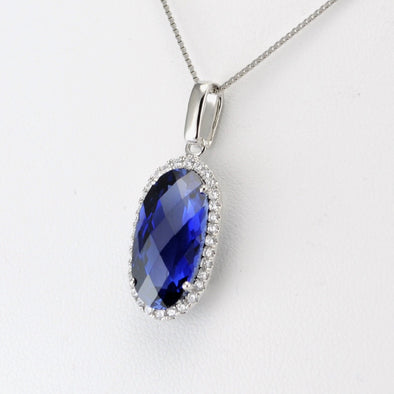 Silver Created Sapphire 6.5ct Oval CZ Necklace