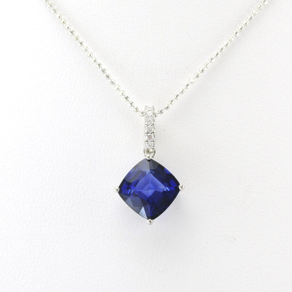 Silver Created Sapphire 4.3ct Square CZ Necklace