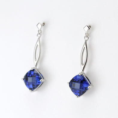 Silver Created Sapphire 4ct Squ Dangle Earrings