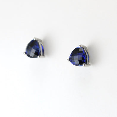 Silver Created Sapphire 3ct 7mm Trillion Post Earrings