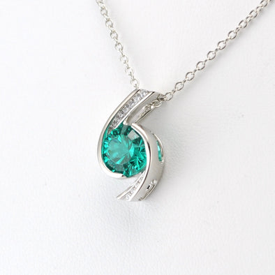 Silver Parieba Corundum 3.2ct CZ Necklace