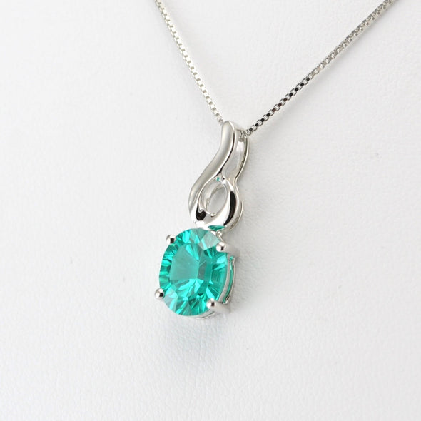 Silver Parieba Corundum 2.9ct Oval Necklace