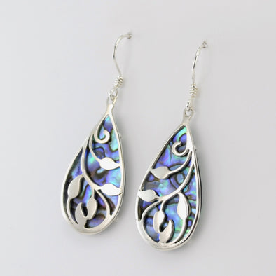 Silver Abalone Leaf Earrings