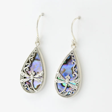 Silver Abalone Dragonfly Tear Earrings