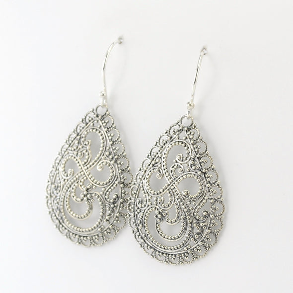 Silver Tear Bali Dangle Earrings