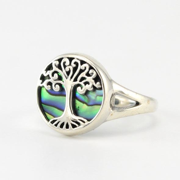 Silver Abalone Tree Ring Size 7