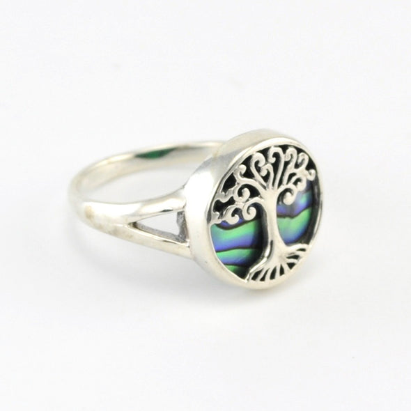 Silver Abalone Tree Ring Size 8