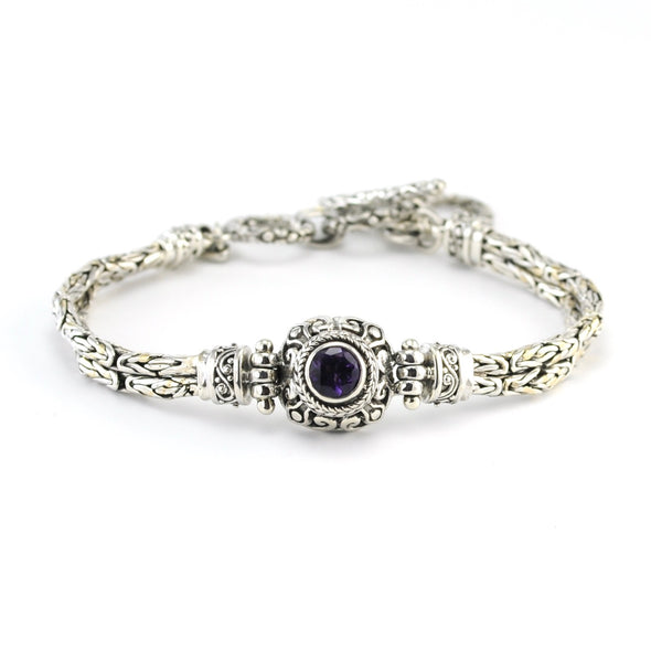 Silver Amethyst 6mm Round Toggle Bracelet
