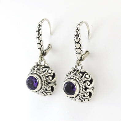 Silver Amethyst 6mm Round Dangle Earrings