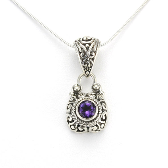 Sterling Silver Amethyst 6mm Round Pendant