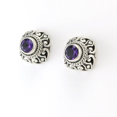 Silver Amethyst 6mm Round Post Earrings