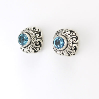Silver Blue Topaz 6mm Post Earrings