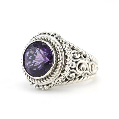 Silver Amethyst 10mm Round Ring