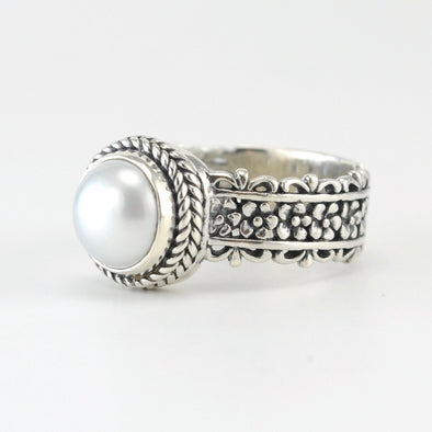 Silver Pearl Flower Band Ring
