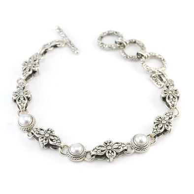 Sterling Silver Pearl Filigree Toggle Bracelet