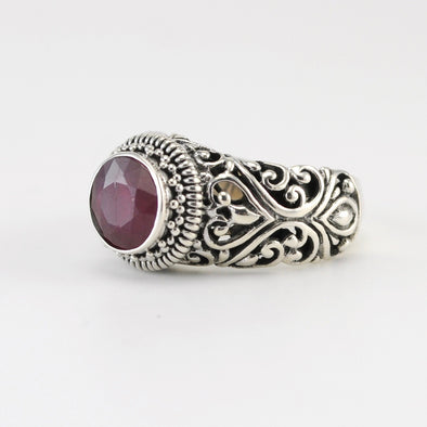 Silver Ruby 8mm Round Ring