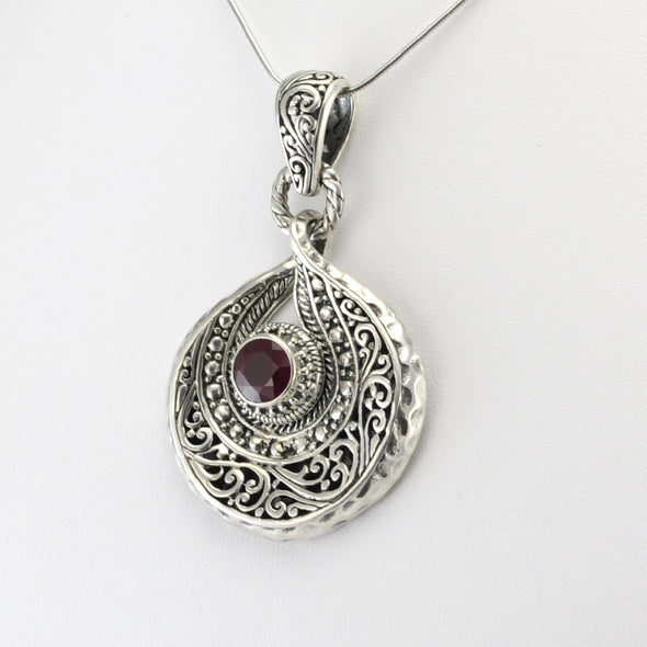 Silver Ruby 8mm Round Swirl Pendant