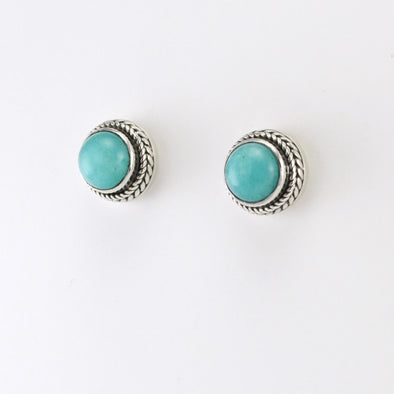 Silver Amazonite Round Post Earrings