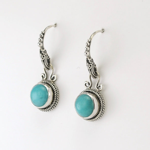 Silver Amazonite Round Dangle Earrings