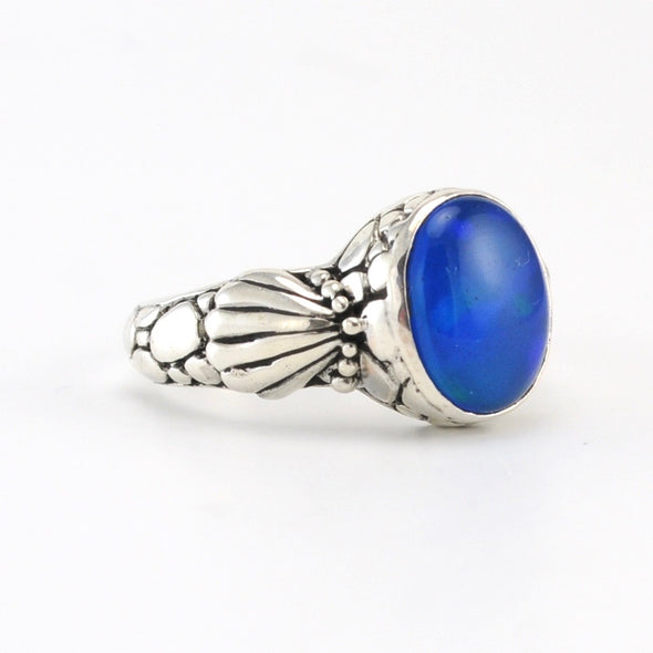 Silver Opal Shell Ring
