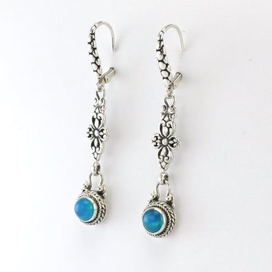 Silver Opal Filigree Dangle Earrings
