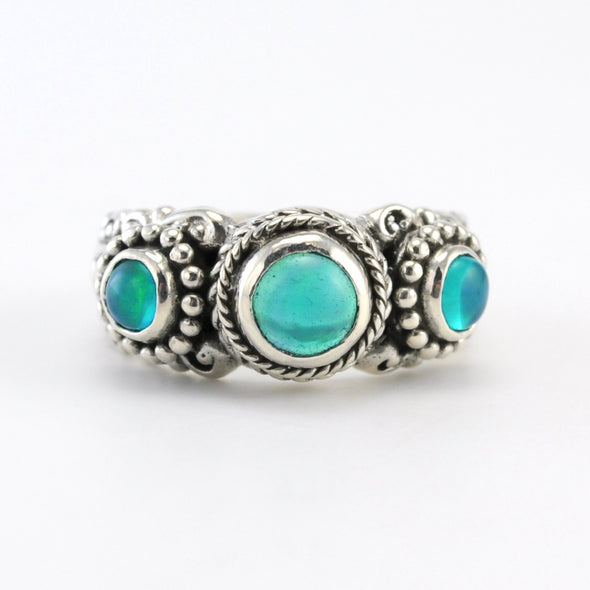 Silver Opal 3 Stone Ring