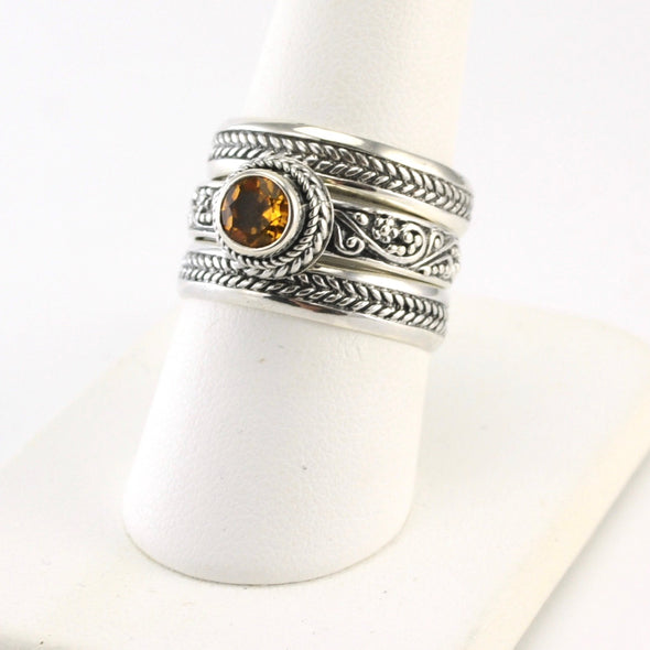 Silver Citrine 5mm Stack Ring