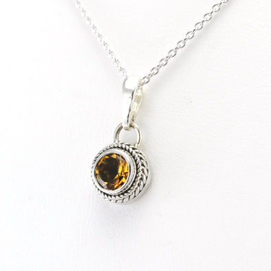 Silver Citrine 5mm Round Necklace