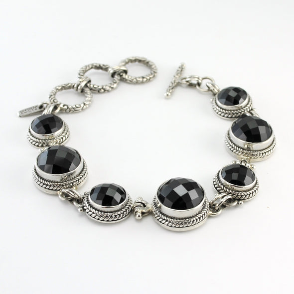 Silver Black Spinel Toggle Bracelet