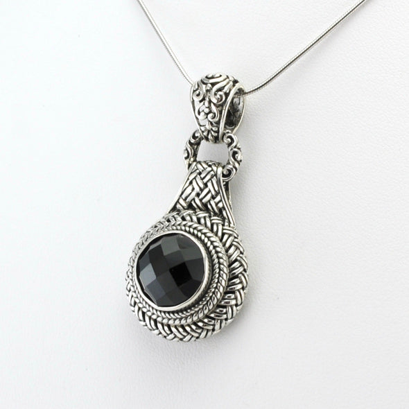 Silver Black Spinel Woven Pendant