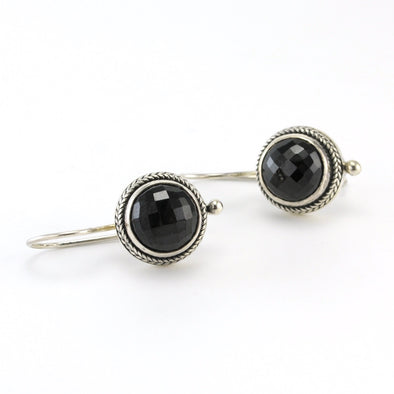 Silver Black Spinel Round Dangle Earrings