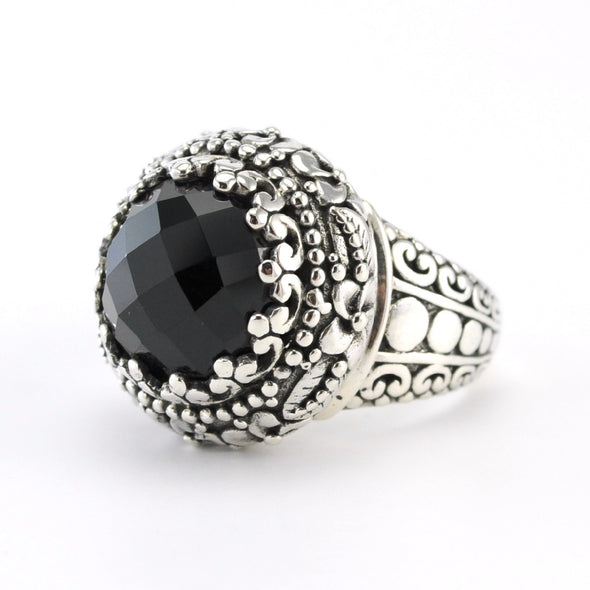 Silver Black Spinel Round Ring