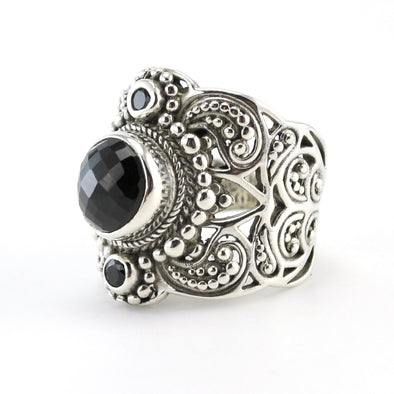 Silver Black Spinel Wide Ring