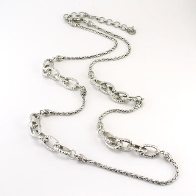 Silver Bali Oval Links 30 Inch Necklace