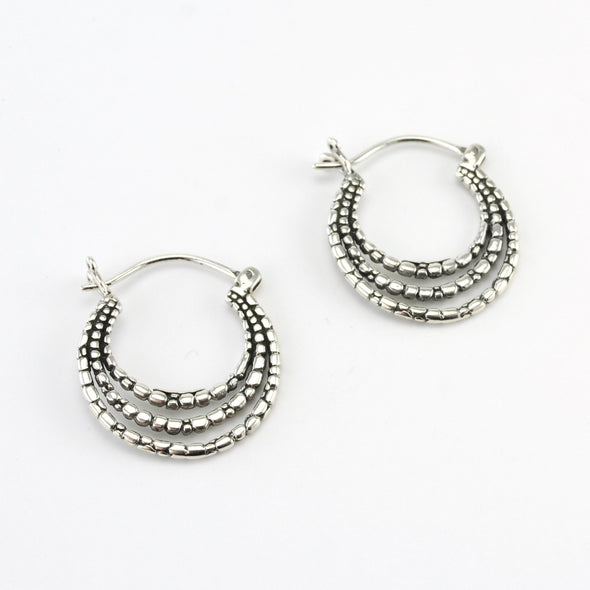 Silver Bali 3 Circle Hoop Earrings