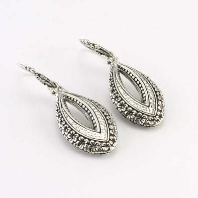 Silver Bali Marquise Dangle Earrings