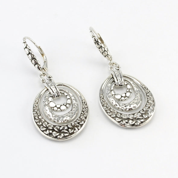 Silver Bali 3 Oval Dangle Earrings