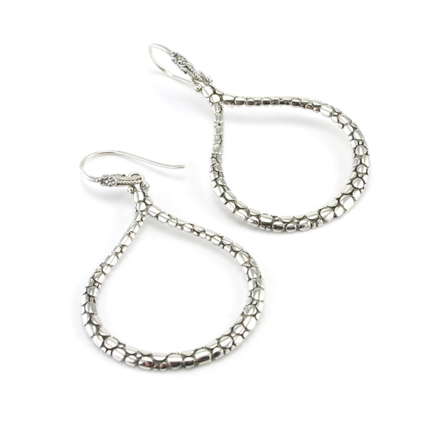 Silver Bali Wide Hoop Dangle Earrings