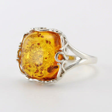 Silver Baltic Amber Square Ring