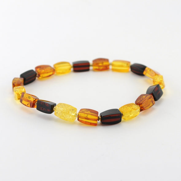 Multicolored Amber Stretch Bracelet